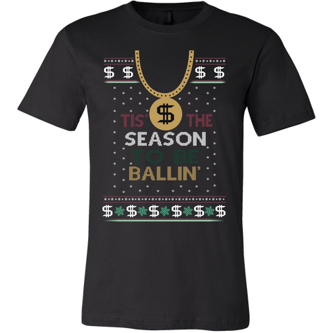 Tis The Season To Be Ballin Ugly Christmas Sweater Canvas Mens Shirt - Free Shipping
