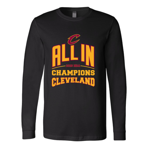 Cleveland Cavaliers ALL IN 2016 NBA Champions - Canvas Long Sleeve Shirt - Free Shipping