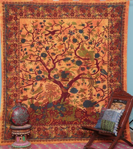 Orange Tree of Life Bohemian Wall Hanging Tapestry Boho Decor Dorm - Free Shipping