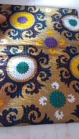 Handmade Tan Flower Power Bohemian Kantha Quilt Throw 3 PC Boho Chic Bedroom Bedset