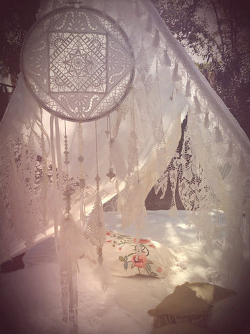 Handmade Bohemian White Lace Canopy Wedding Hippie Dreamcatcher Boho Tent - Free Shipping