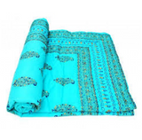 Printed Turquoise Bohemian Kantha Quilt 3 PC Boho Chic Bed Set 2 Pillow Cases - Free Shipping
