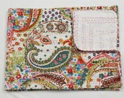 Vintage Paisley Bohemian Kantha Quilt 3 PC Boho Bedset 2 Pillow Cases - Free Shipping