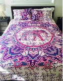 Walking Purple Elephant Bohemian 3PC Mandala Boho Bedding & 2 Pillow Cases - Free Shipping