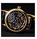 Men's Skeleton Gold Black Leather Wrist Watch - Black Friday Cyber Monday - Free Shipping