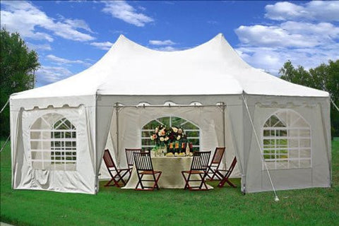 29'x21' Decagonal Wedding Party Tent Canopy Gazebo Heavy Duty Water Resistant White