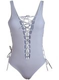 White Strappy Women's Bathing Suit One Piece Front Side Lace Up Monokini Swimsuit