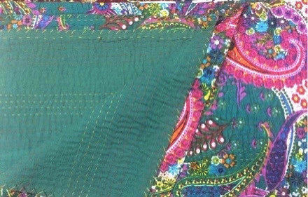 Winter Paisley Floral Bohemian Kantha Quilt 3 PC Boho Bed Set 2 Pillow Cases - Free Shipping