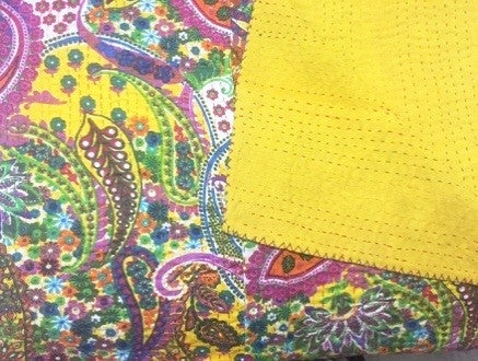 Yellow Paisley Floral Bohemian Kantha Quilt Throw 3 PC Boho Bed Set 2 Pillow Cases - Free Shipping