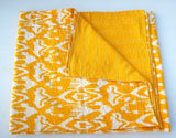 Yellow Ikat Bohemian Wave Kantha Quilt 3 PC Boho Chic Bed Set 2 Pillow Cases - Free Shipping