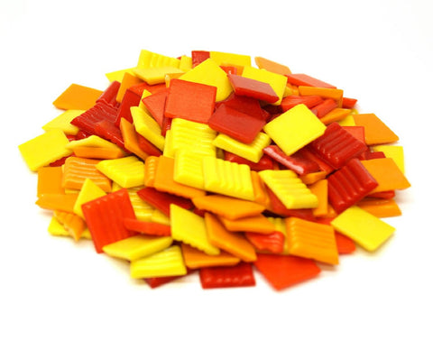 "3/4"" Fire Glass Tile Mix - 1 Lb"