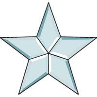 6 Inch Clear Bevel Five Point Cluster Star - Stained Glass Supplies