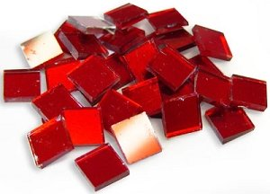 Mosaic Supplies - 1/2 inch Red Mirror Tiles - 30 Pieces