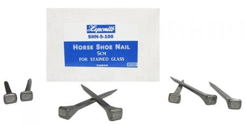 Leponitt Steel 2 inch Horseshoe Nails for Stained Glass Work Box of 100