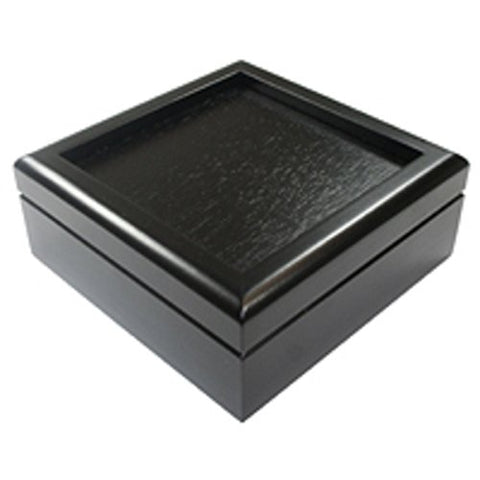Glass Supplies - Black Hinged 7 1/4 Inch Box Velvet Lined