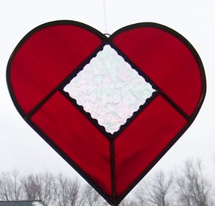 Ruby Red and Clear Iridized Gluechip Stained Glass Heart 7 Inch