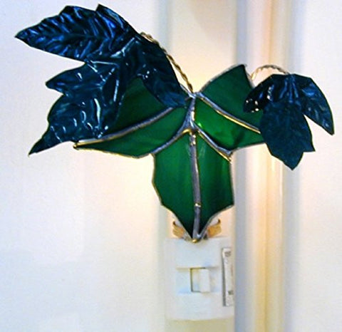 Stained Glass Green Maple Leaf Nightlight with Painted Copper Leaves