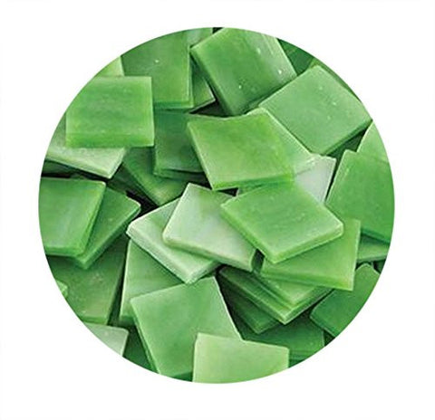 Mosaic Supplies - Light Green Opaque Stained Glass Chips - 48 Pieces