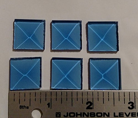 Stained Glass Supplies - 3/4 Inch Square Light Blue Glass Bevels Pack of 10 …