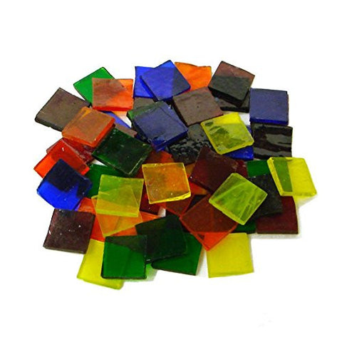 "Mosaic Supplies - 3/4"" Cathedral Stained Glass Chip Assortment - 48 Pieces."
