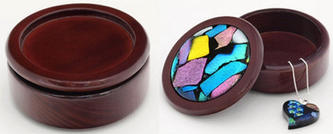 Mahogany Round Jewelry Box With Opening for your Glass