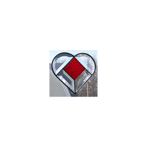 Clear Beveled Glass With Red Gluechip Center Stained Glass Heart