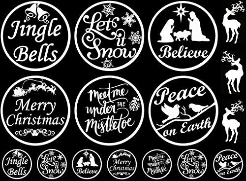 christmas ornament white 16cc701 fused glass decals - Christmas Decals For Glass
