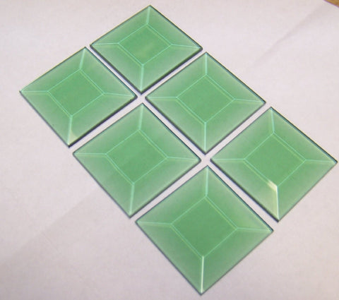 2 X 2 Inch Green Square Bevels 6 Pack