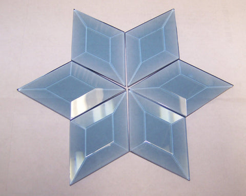 Stained Glass 1 3/4 X 3 Pale Blue Diamond Bevels Pack of 6
