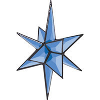 "Blue 3-D Closed Center Star Bevel Cluster, 6-7/8"" x 5-1/8"""