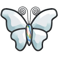 "Stained Glass Supplies - Bevel Cluster Clear Butterfly 4"" x 5-1/2"" - 04 - Body Not Included"