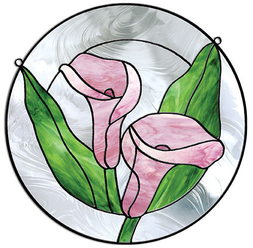 Free stained glass patterns calla lily circle by leslie for Simple glass painting pictures