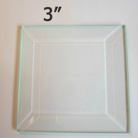 "3"" X 3"" Clear Glass Bevels-Pack of 6"