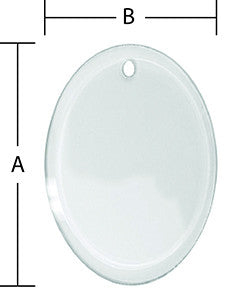 3 x 5 Inch Oval Beveled Glass Ornament With Pre-Drilled Hole
