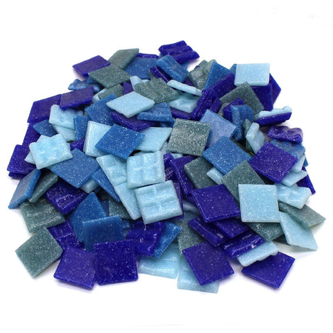 "3/4"" Denim Venetian Glass Tile Mix - 1 Lb"