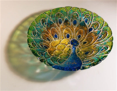 11 Inch Diameter Peacock Texture Tile Mold For Glass