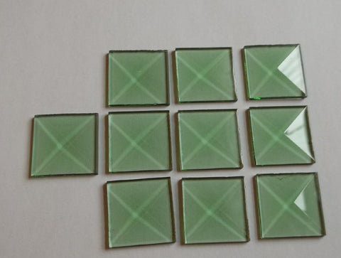 1 Inch Square Green Glass Bevels Pack of 10