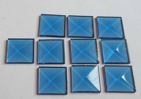1 Inch Square Blue Glass Bevels Pack of 10