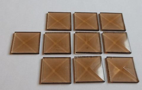 1 Inch Square Bronze Glass Bevels Pack of 10