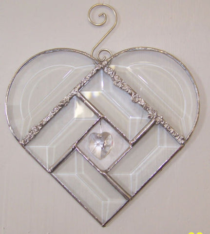 Clear Beveled Glass Heart with Curly Que Hanger and Crystal Heart