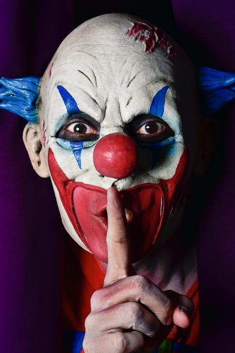 Scary Clown Asking for Silence