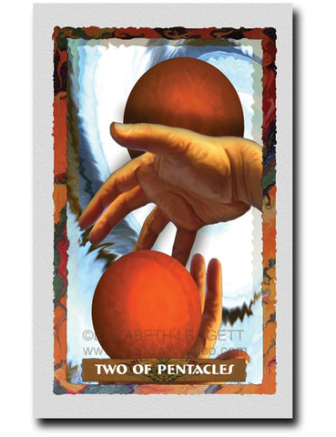Two Of Pentacles - Portico Arts - Art Print by Elizabeth Legget