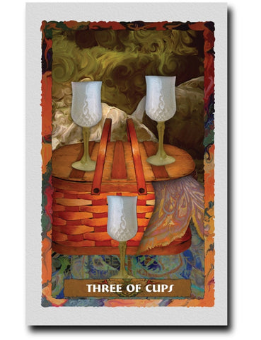 Three Of Cups - Portico Arts - Art Print by Elizabeth Legget
