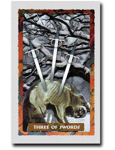 Three Of Swords - Portico Arts - Art Print by Elizabeth Legget