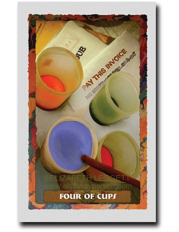 Four Of Cups - Portico Arts - Art Print by Elizabeth Legget