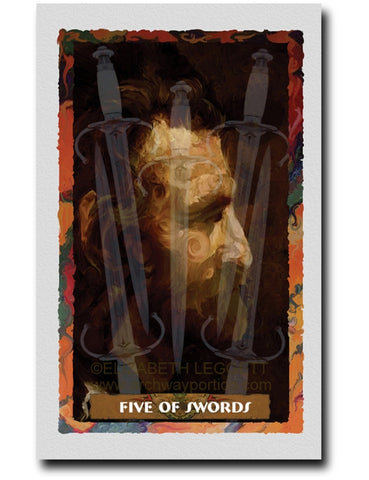 Five Of Swords - Portico Arts - Art Print by Elizabeth Legget