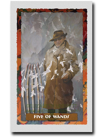 Five of Wands - Portico Arts - Art Print by Elizabeth Legget