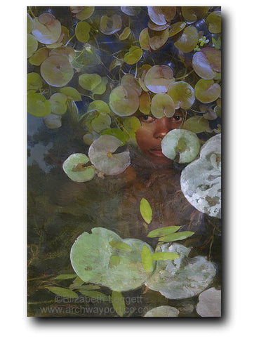 Elizabeth Leggett | Portico Art image of a woman hiding patiently under pond lilies