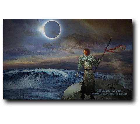 Vigil - Portico Arts - Art Print by Elizabeth Legget, picture of a female knight in armor, keeping vigil on a stormy coast, during an eclipse