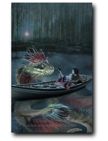 Elizabeth Leggett | Portico Art image of girl in boat reading a story to a water dragon